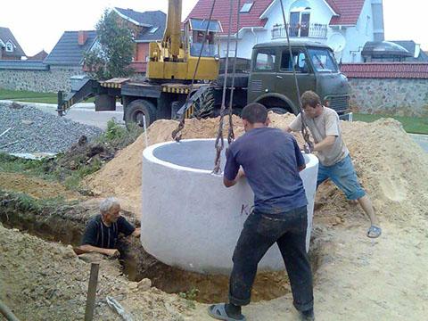 Монтаж колец канализационных